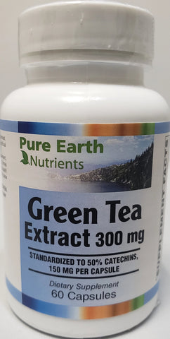 Pure Earth Nutrients Green Tea Extract 300 mg  60 capsules