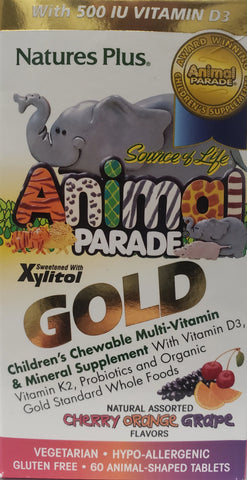 Animal Parade Gold  Children's Chewable Multi-Vitamin and Mineral Supplement  60 chewable wafers