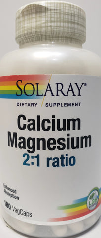 Solaray Calcium Magnesium 2:1 Ratio  180 VegeCaps
