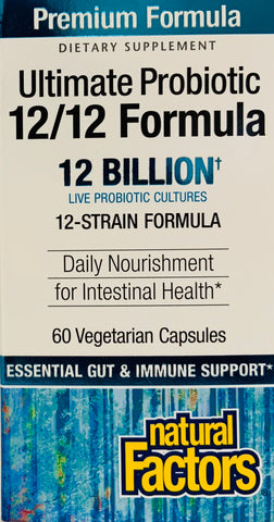 Natural Factors Ultimate Probiotic 12/12 Formula  60 Vege Capsules