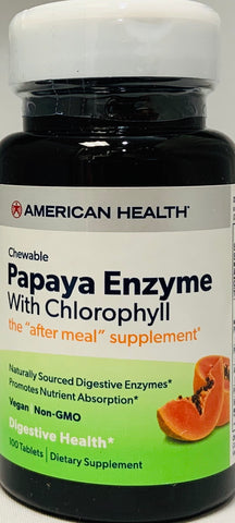 American Health Papaya Enzyme with Chlorophyll 100 Chewable Tablets