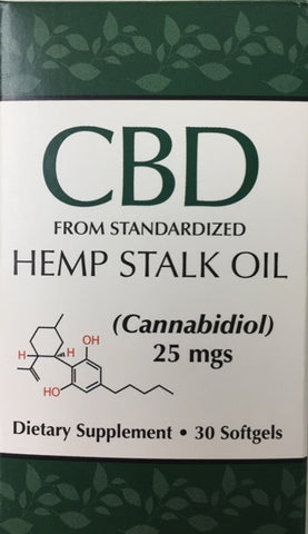 CBD Hemp Stalk Oil (Cannabidiol 25mg) 30 softgels