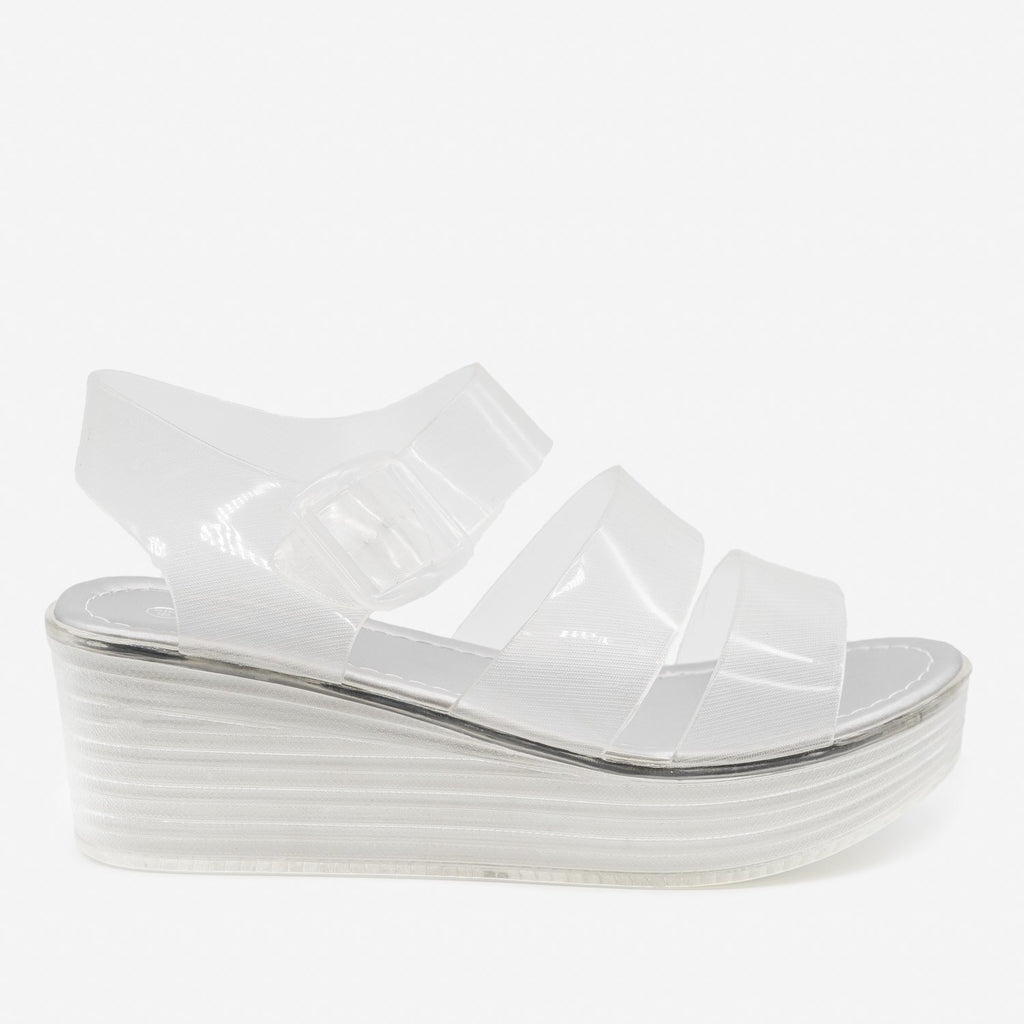 Women's Retro 90's-Inspired Jelly Platform Sandals - Forever - Clear / 5