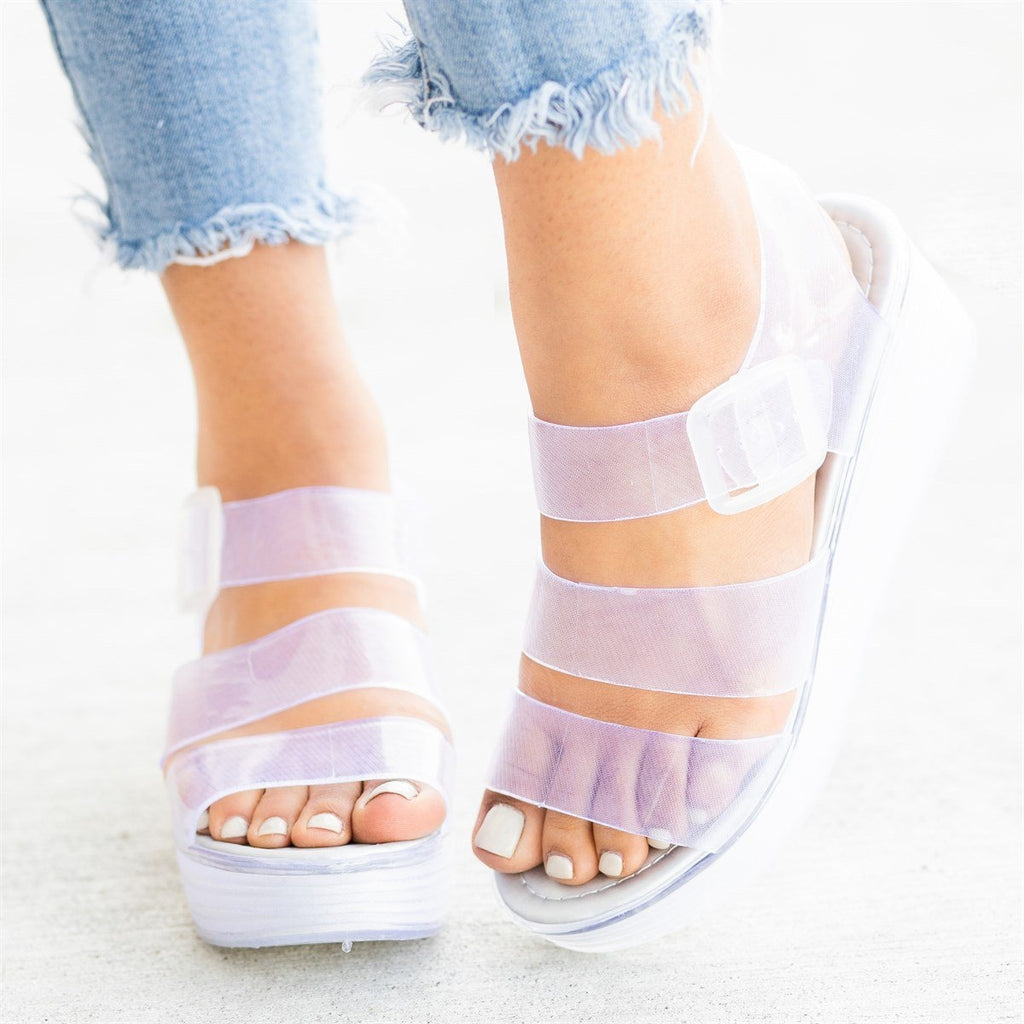 Womens Retro 90s-Inspired Jelly Platform Sandals - Forever - Clear / 5