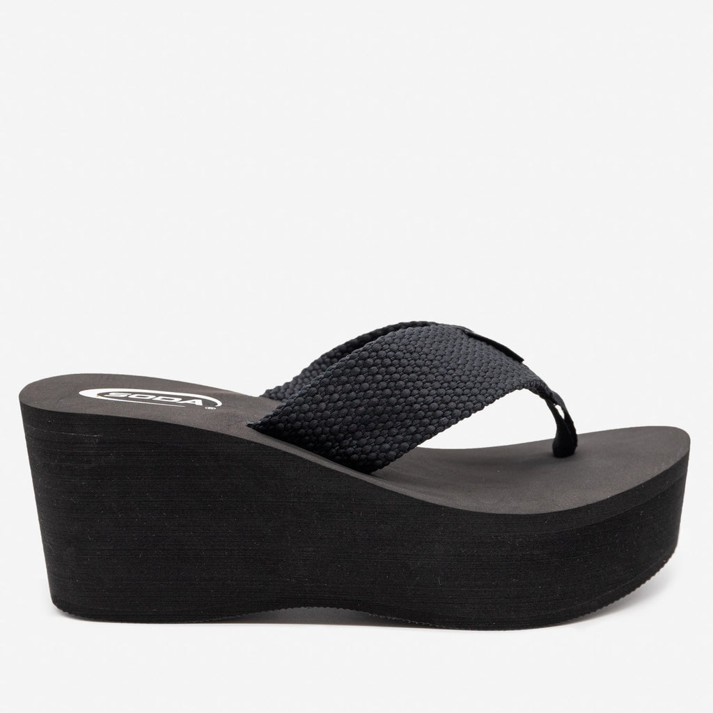 Women's Platform Thong Sandals - Soda Shoes - Black / 5