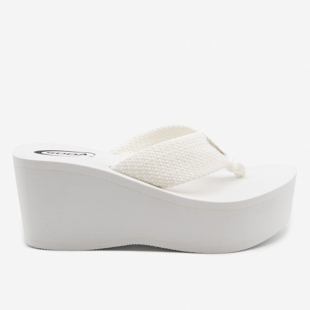 Women's Platform Thong Sandals - Soda Shoes - White / 5