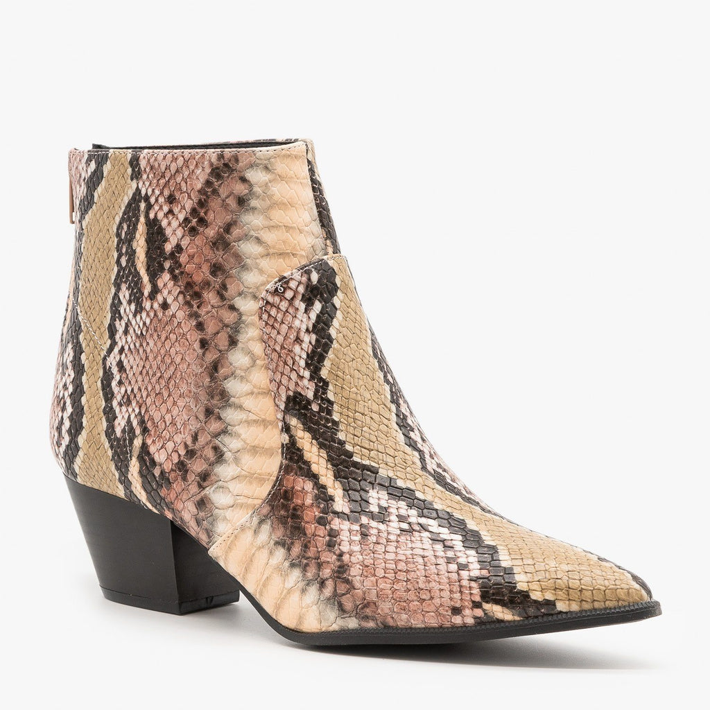 Womens Abstract Snake Print Booties - Qupid Shoes