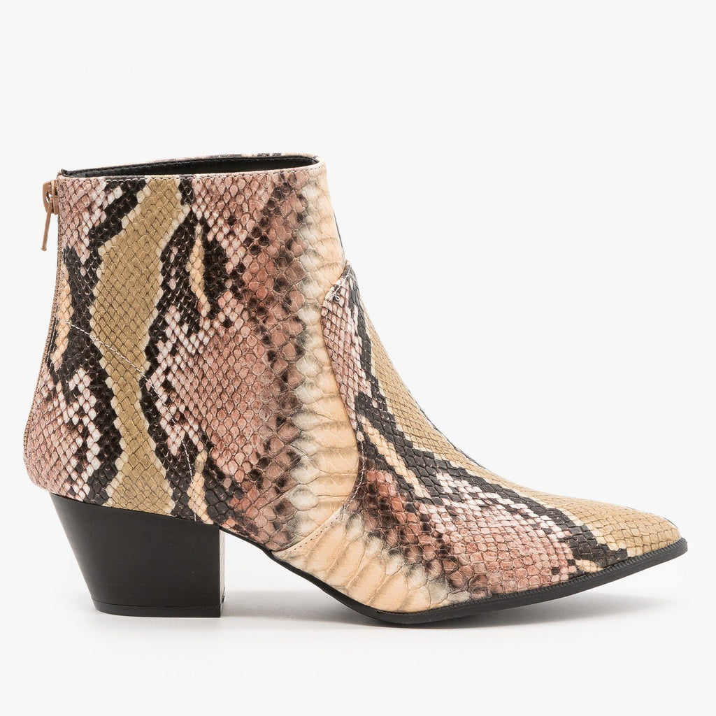 Womens Abstract Snake Print Booties - Qupid Shoes - Blush Taupe Snake / 5
