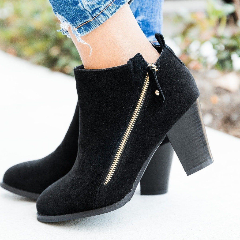Womens Accent Zipper Heeled Ankle Booties - Glaze - Black / 5