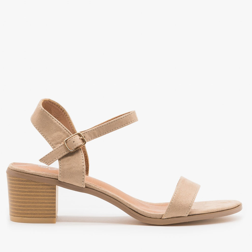Women's Adorable Block Heels - Forever - Taupe / 5