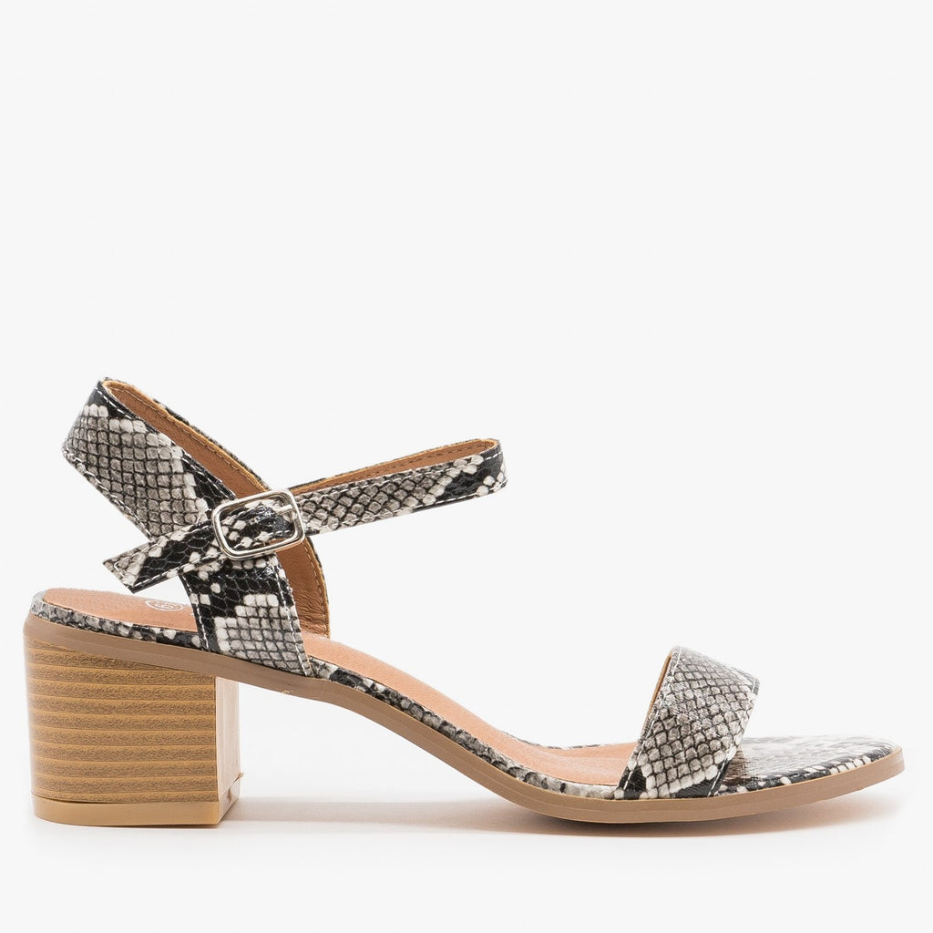 Women's Adorable Block Heels - Forever - Snake / 5