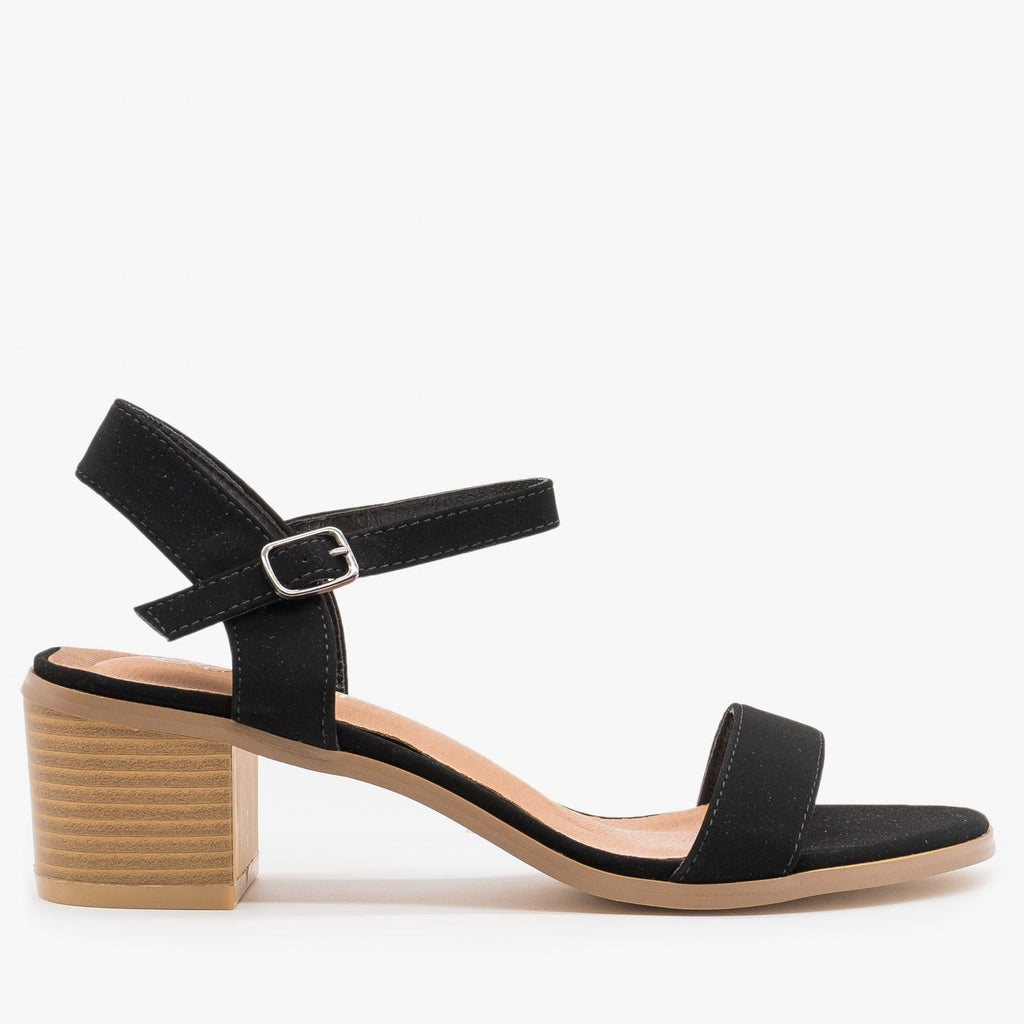 Women's Adorable Block Heels - Forever - Black / 5