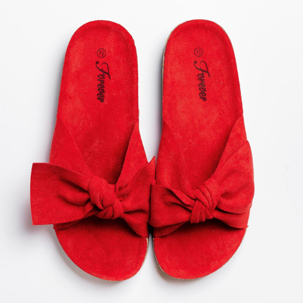 Womens Adorable Bow Slides - Forever - Red / 5