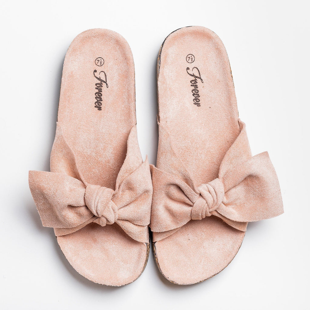 Womens Adorable Bow Slides - Forever - Pink / 5