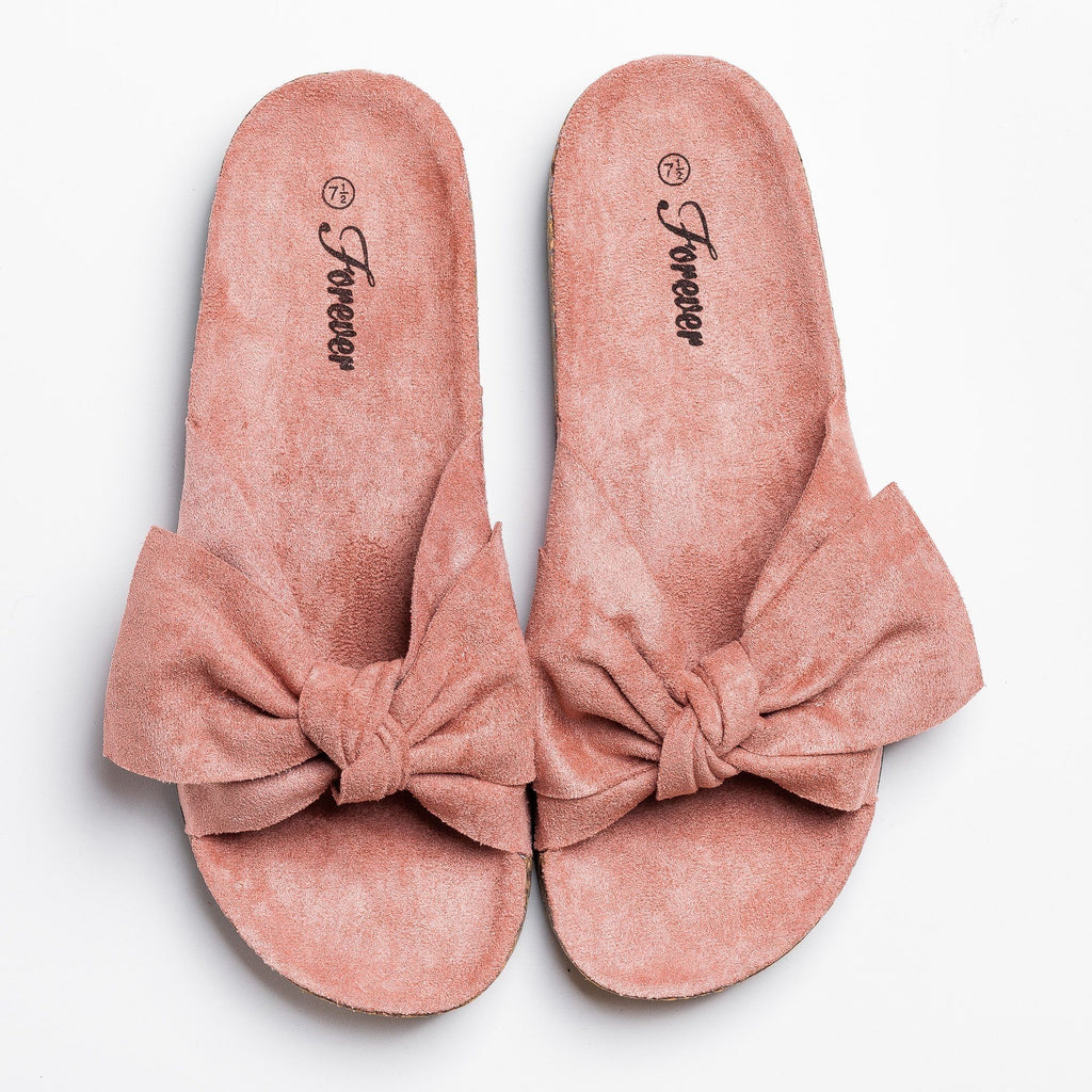 Womens Adorable Bow Slides - Forever - Mauve / 5