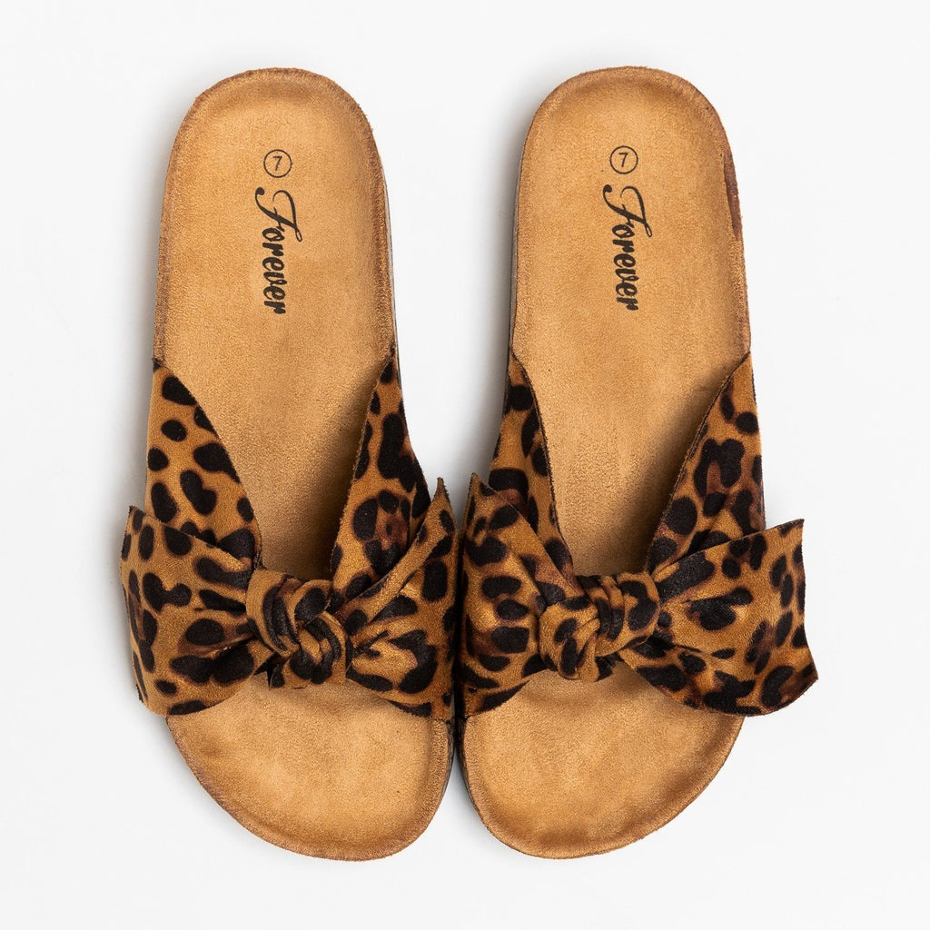 Womens Adorable Bow Slides - Forever - Leopard / 5