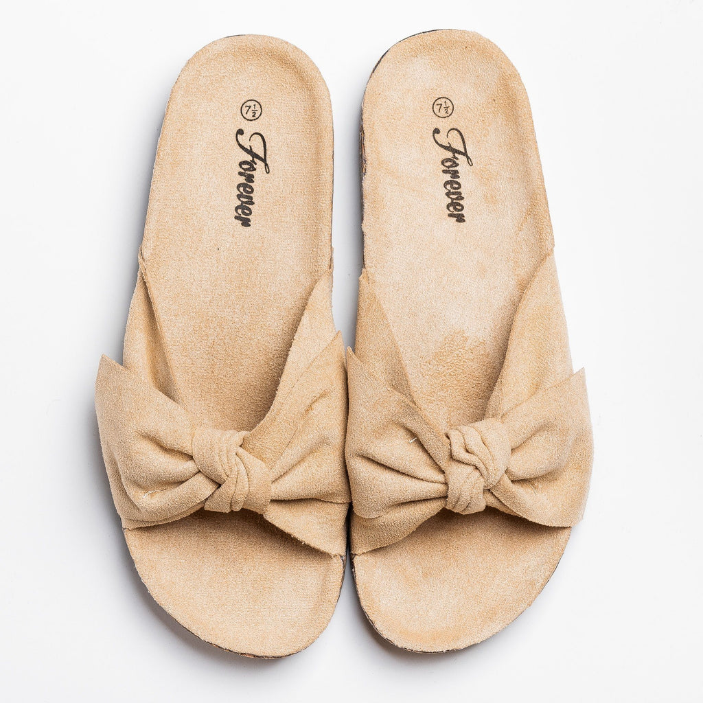 Womens Adorable Bow Slides - Forever - Beige / 5