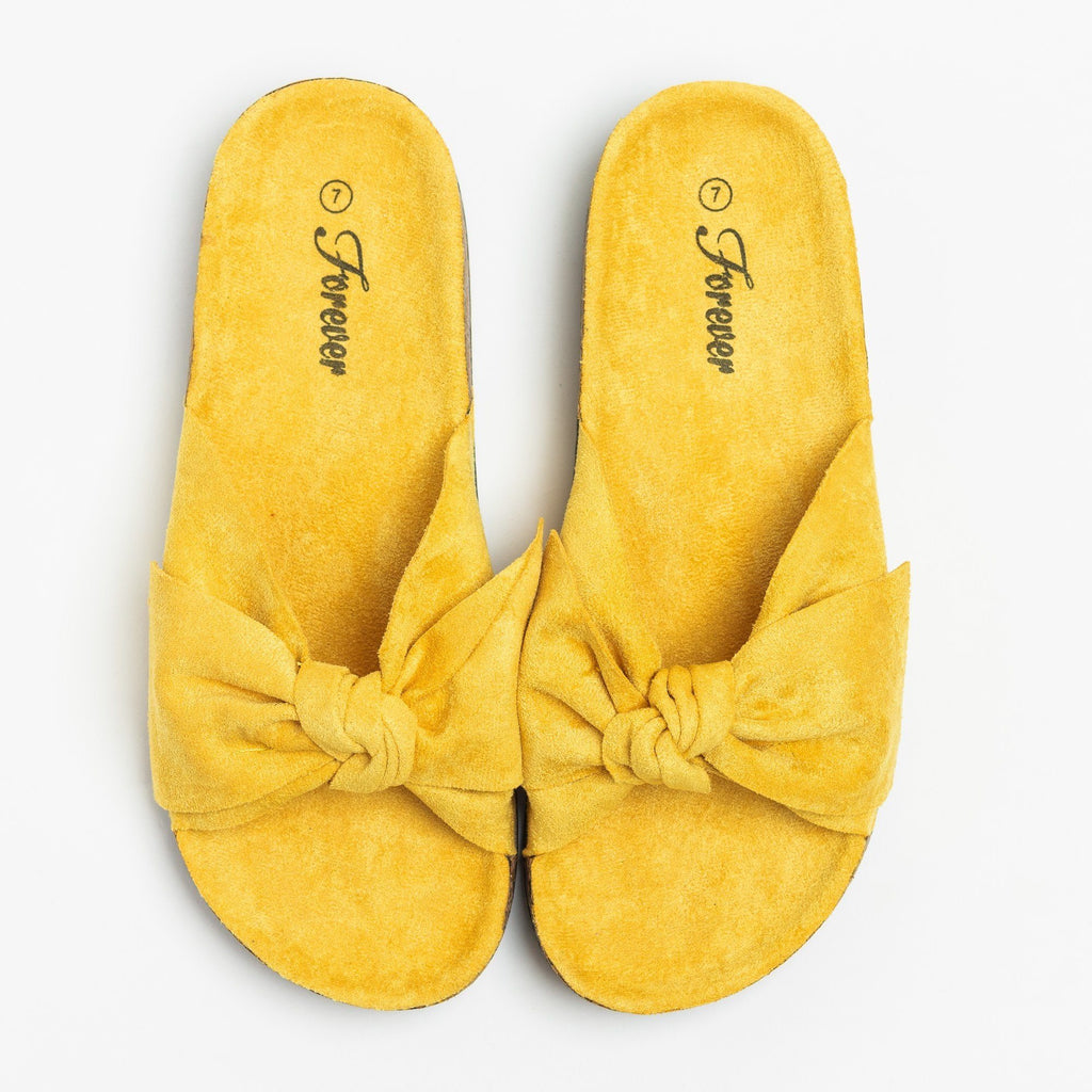 Womens Adorable Bow Slides - Forever - Mustard / 5
