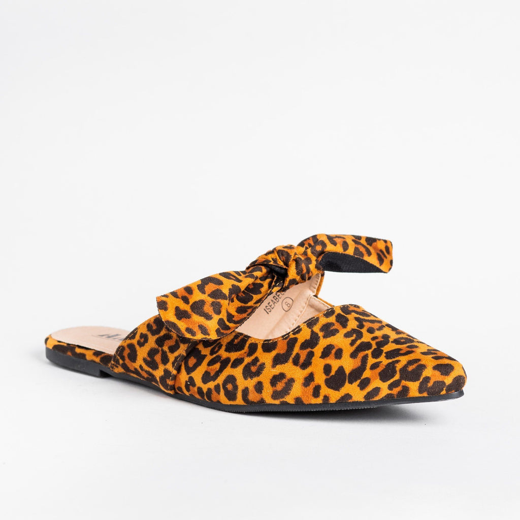 Womens Adorable Bow Slip-On Flats - AMS Shoes - Leopard / 5