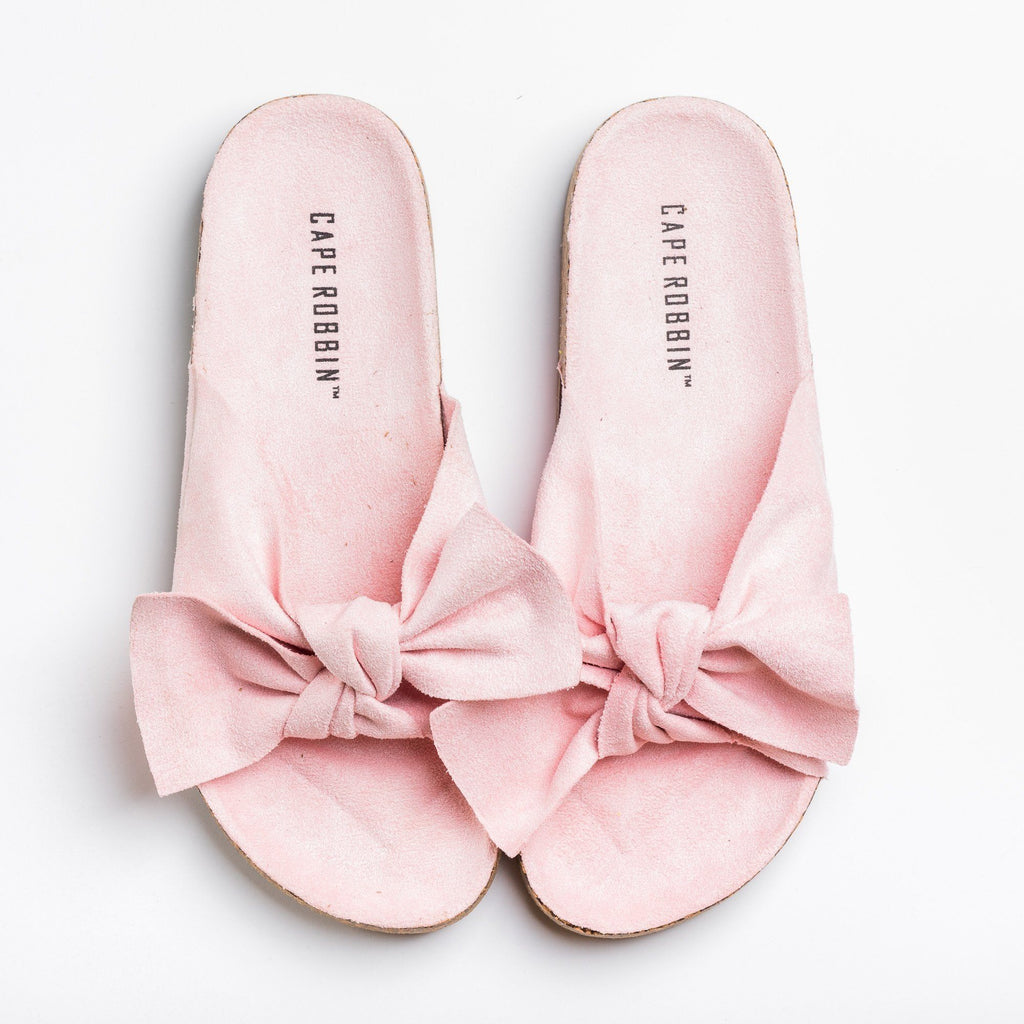 Womens Adorable Bow Tie Slides - Cape Robbin - Pink / 5