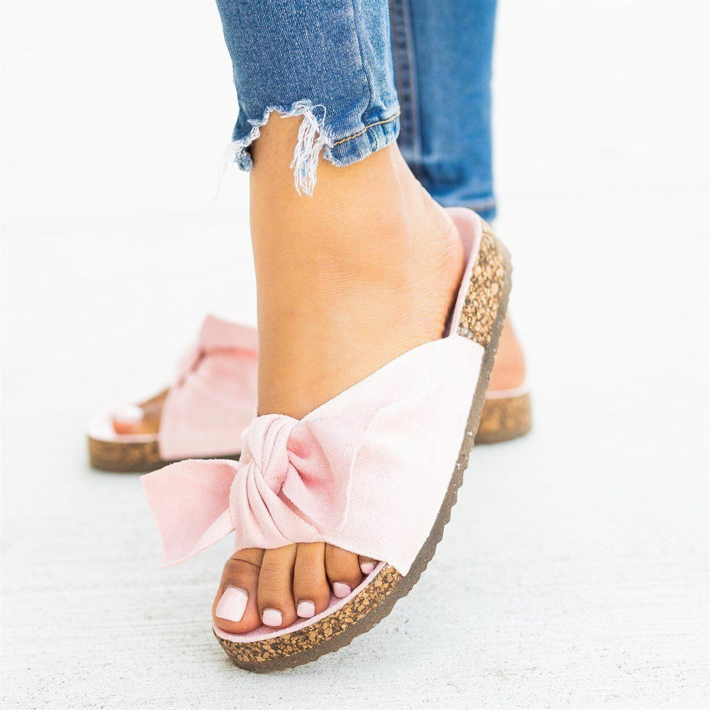 Womens Adorable Bow Tie Slides - Cape Robbin