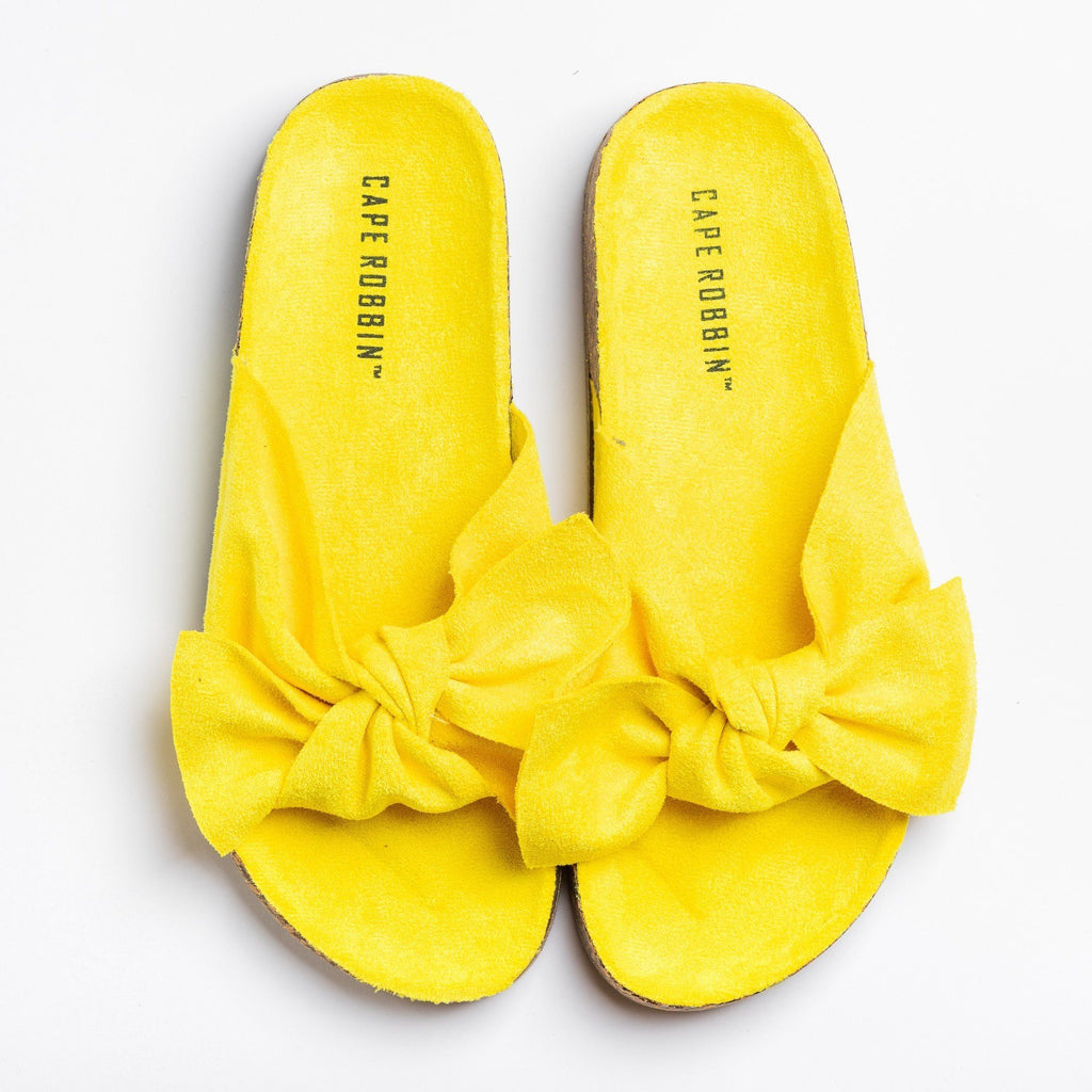 Womens Adorable Bow Tie Slides - Cape Robbin - Yellow / 5