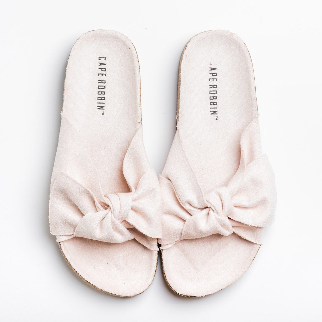 Womens Adorable Bow Tie Slides - Cape Robbin - Nude / 5