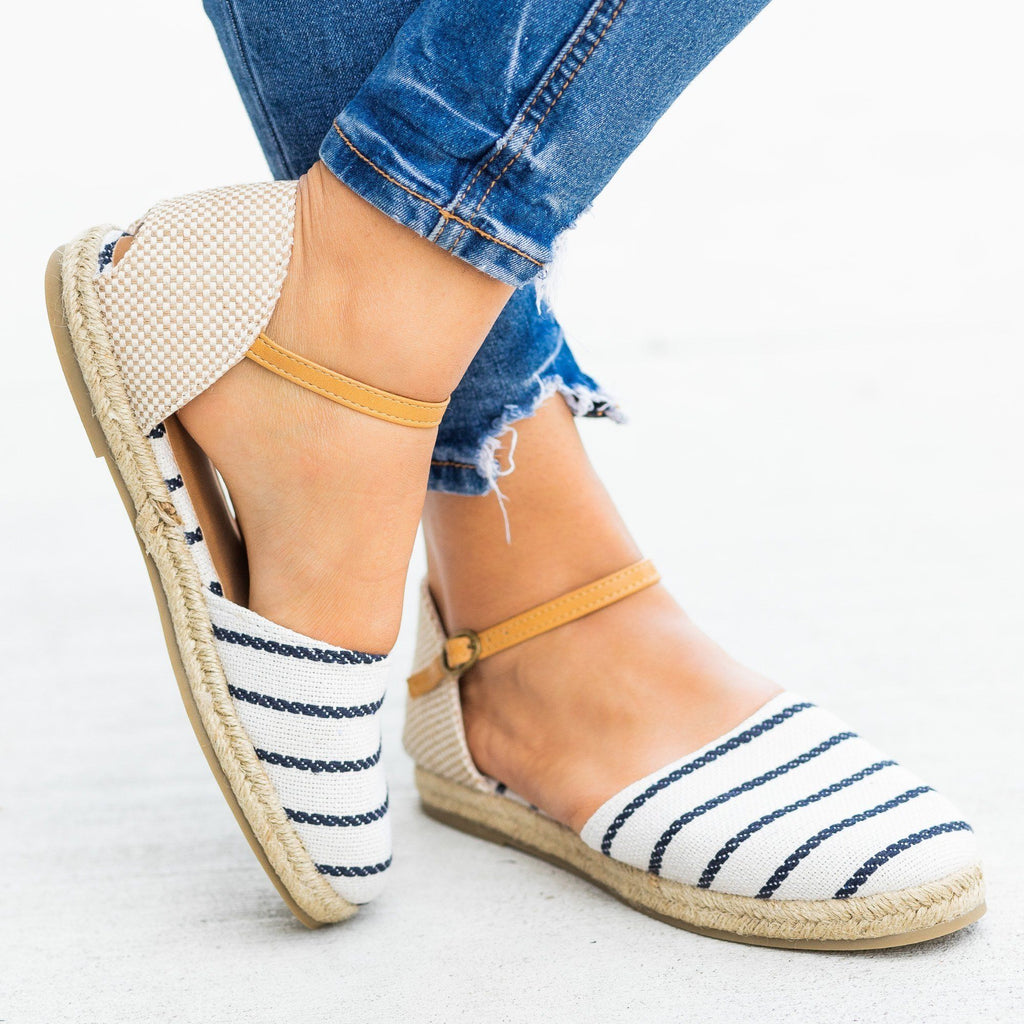 Womens Adorable dOrsay Espadrille Flats - Bamboo Shoes - Navy / 5