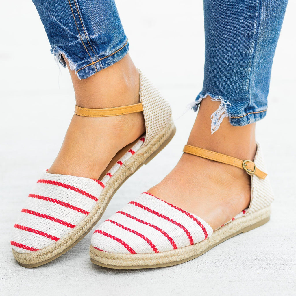 Womens Adorable dOrsay Espadrille Flats - Bamboo Shoes - Red / 5