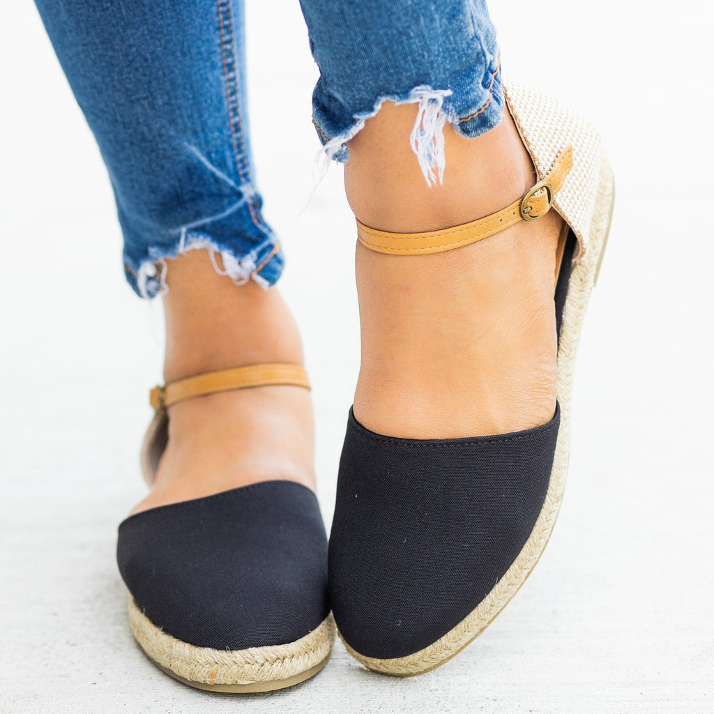 Womens Adorable dOrsay Espadrille Flats - Bamboo Shoes - Black / 5
