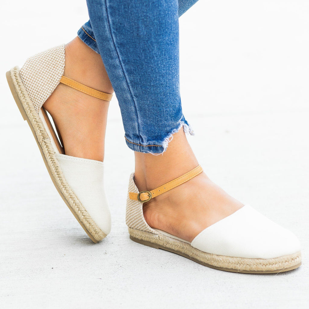 Womens Adorable dOrsay Espadrille Flats - Bamboo Shoes - Beige / 5
