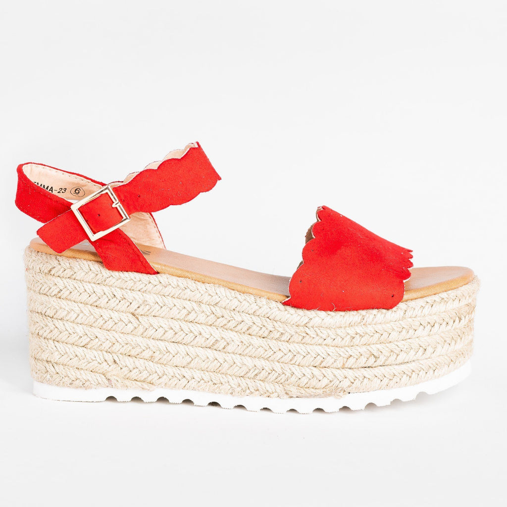 Womens Adorable Espadrille Platform Sandals - AMS Shoes - Red / 5