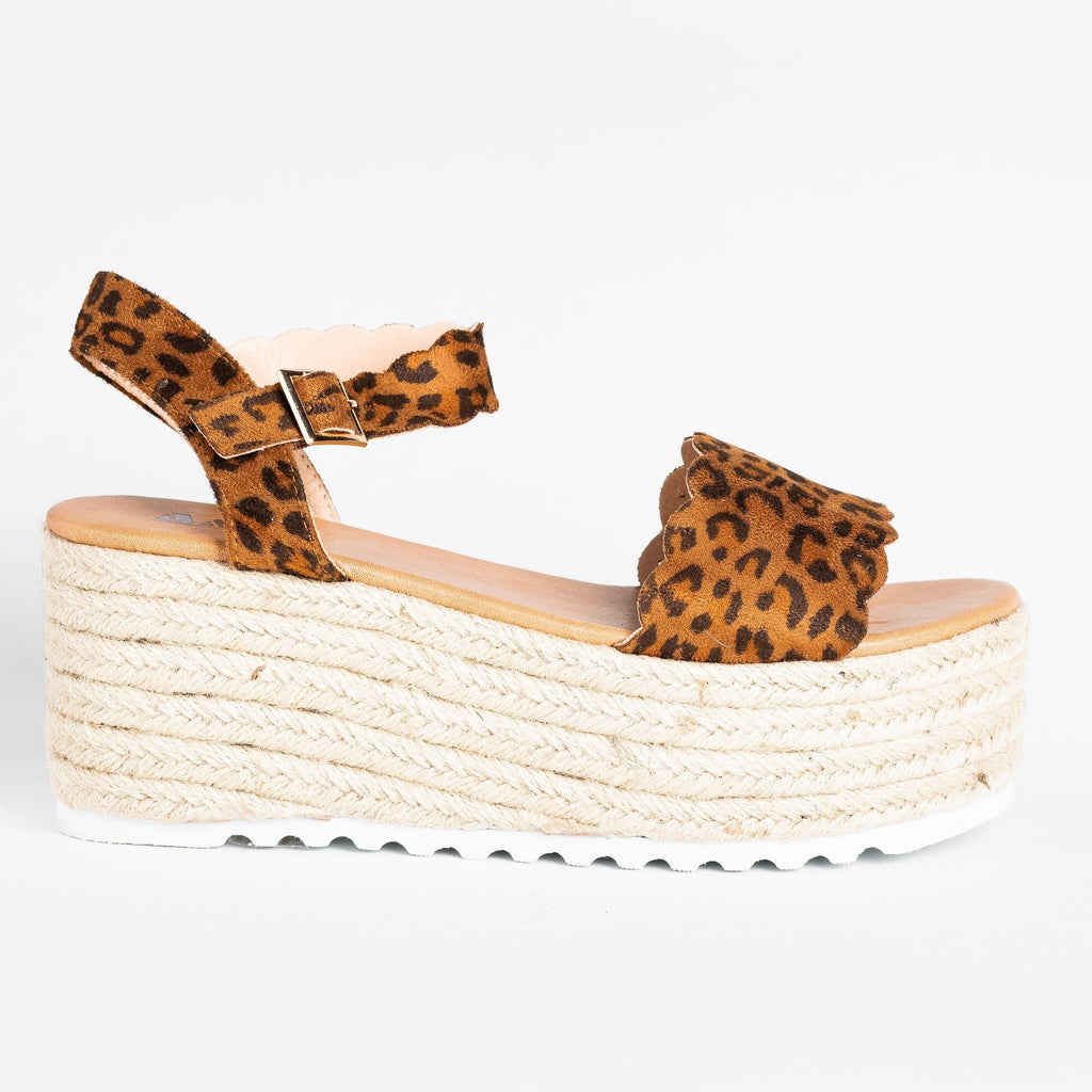 Womens Adorable Espadrille Platform Sandals - AMS Shoes - Leopard / 5