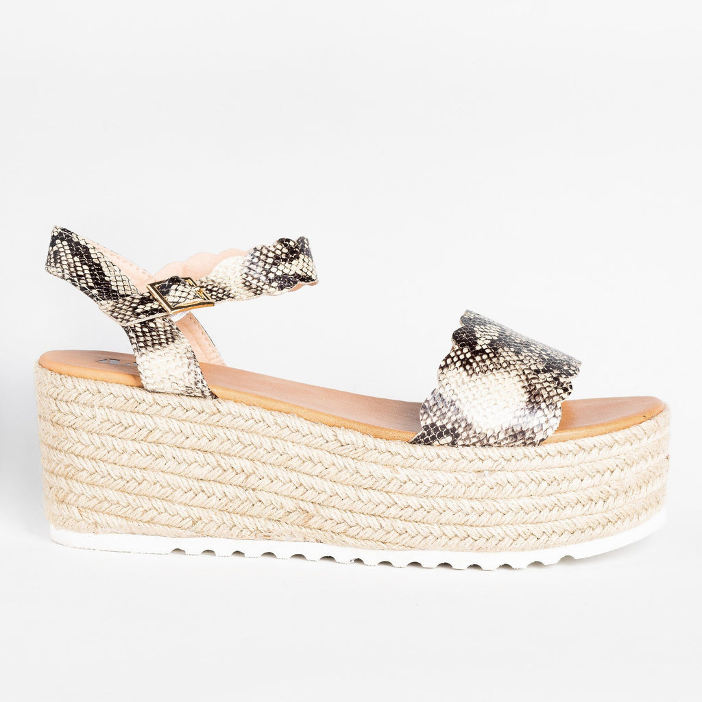 Womens Adorable Espadrille Platform Sandals - AMS Shoes - Snake / 5