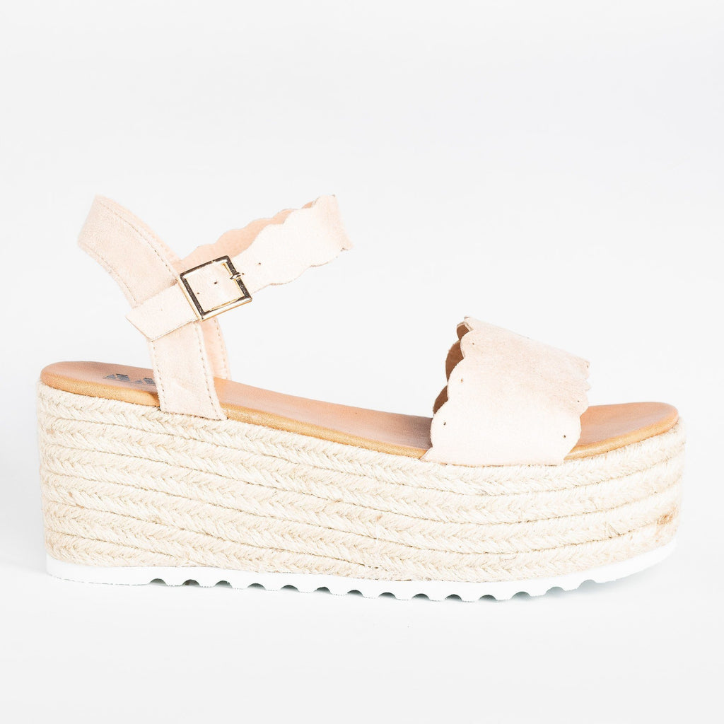 Womens Adorable Espadrille Platform Sandals - AMS Shoes - Nude / 5