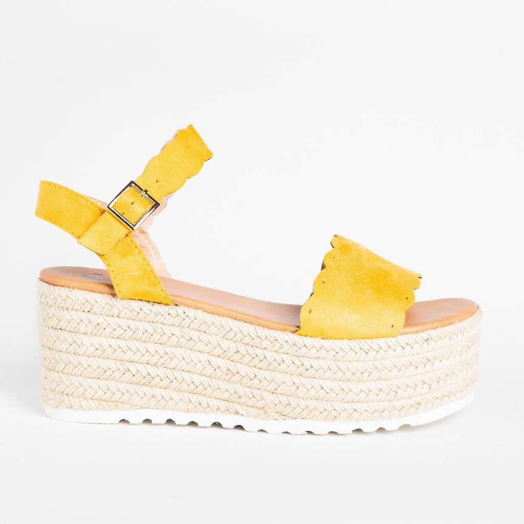 Womens Adorable Espadrille Platform Sandals - AMS Shoes - Mustard / 5
