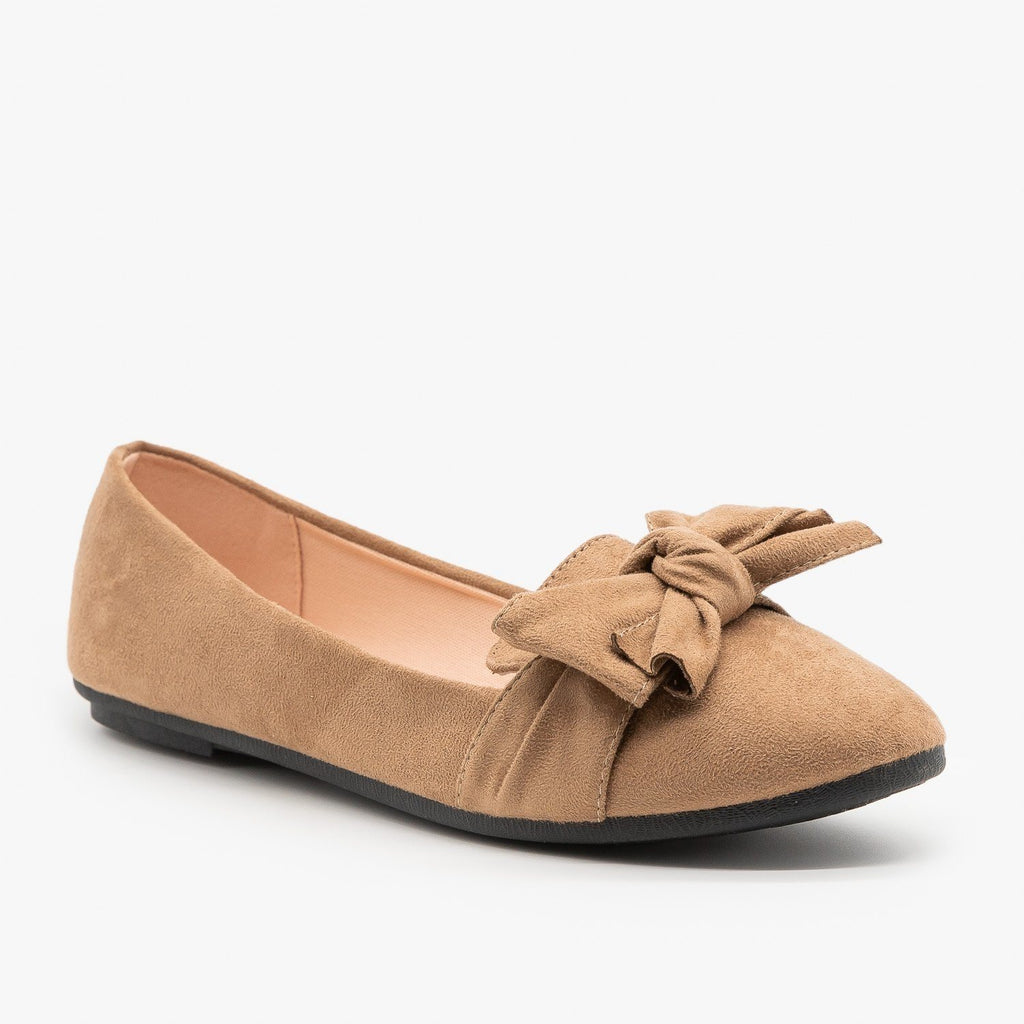 Womens Adorable Everyday Bow Tie Flats - Forever - Taupe / 5