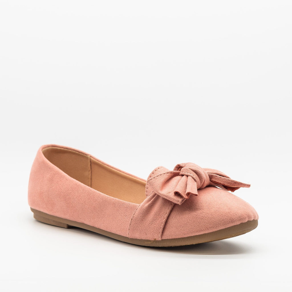 Womens Adorable Everyday Bow Tie Flats - Forever - Dusty Pink / 5