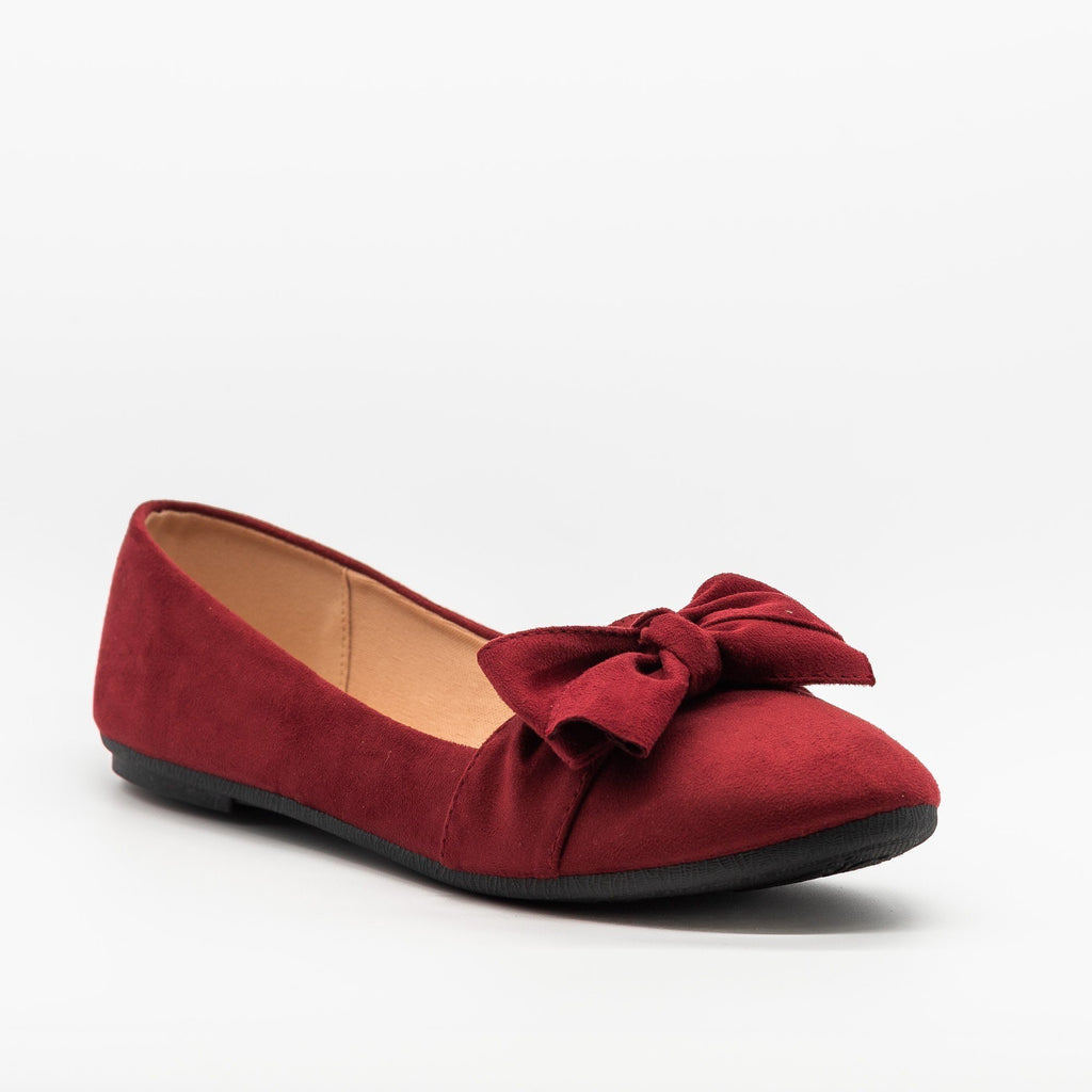 Womens Adorable Everyday Bow Tie Flats - Forever - Burgundy / 5