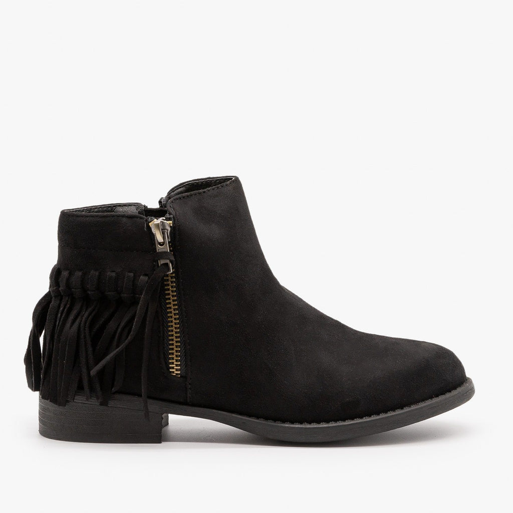 Womens Adorable Fringe Booties - Bella Marie - Black / 5