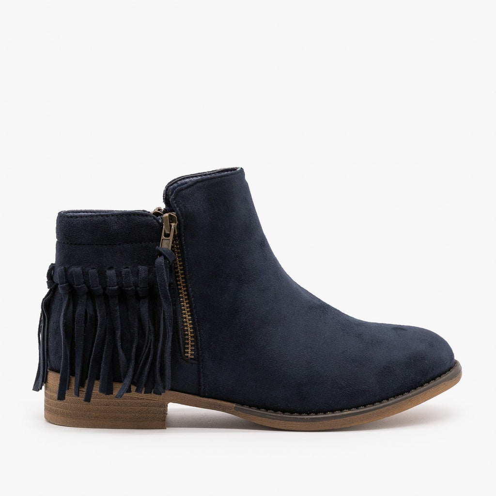 Womens Adorable Fringe Booties - Bella Marie - Navy / 5