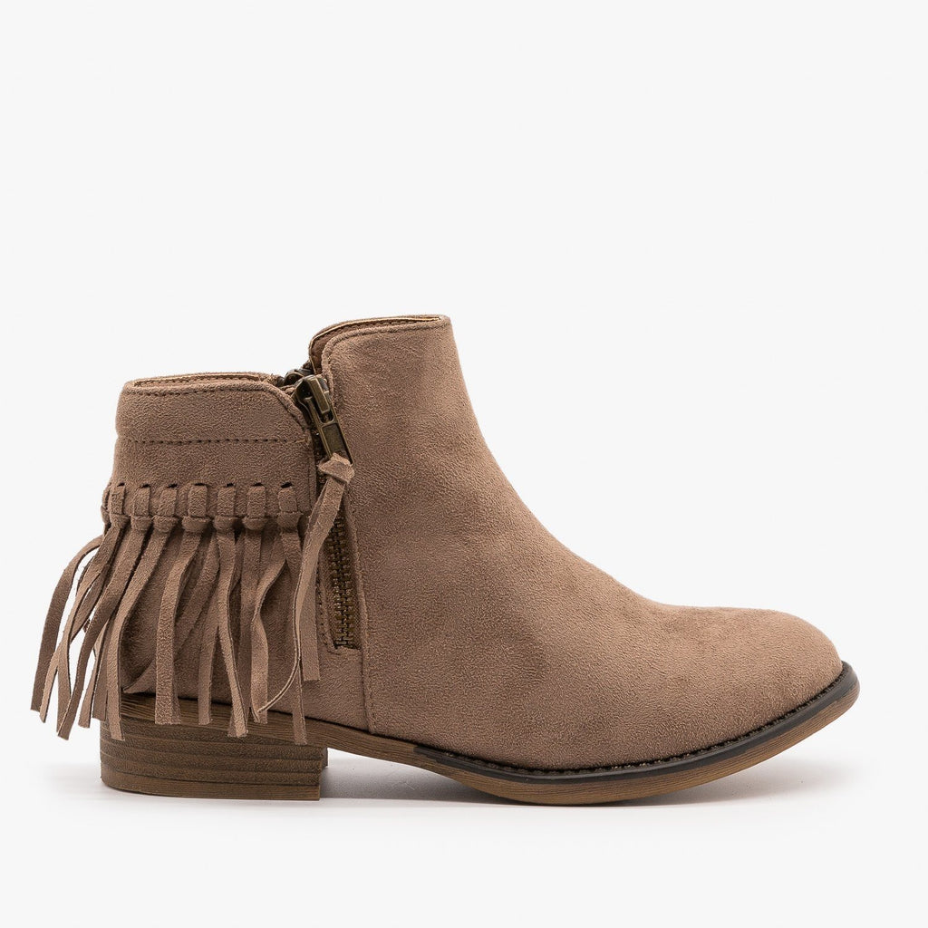 Womens Adorable Fringe Booties - Bella Marie - Taupe / 5