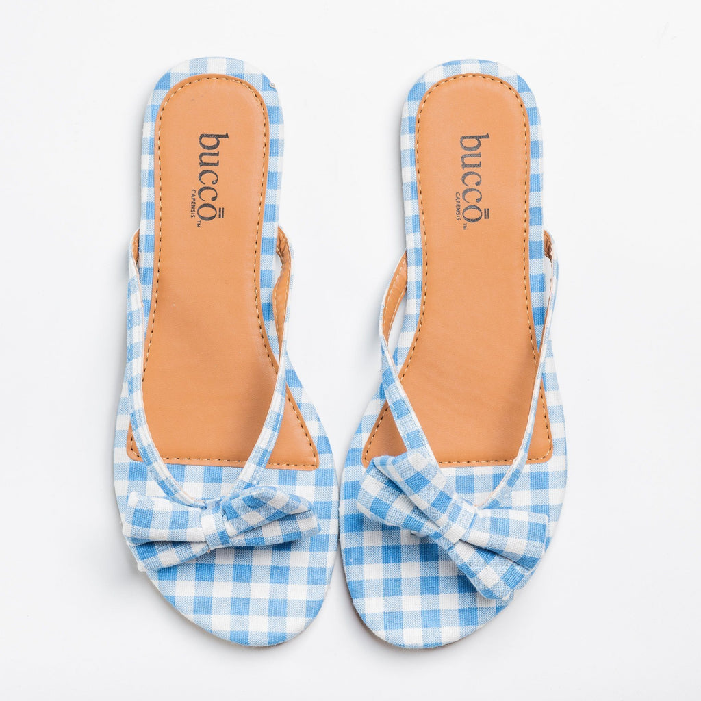 Womens Adorable Gingham Bow Tie Sandals - Bucco - Blue / 5