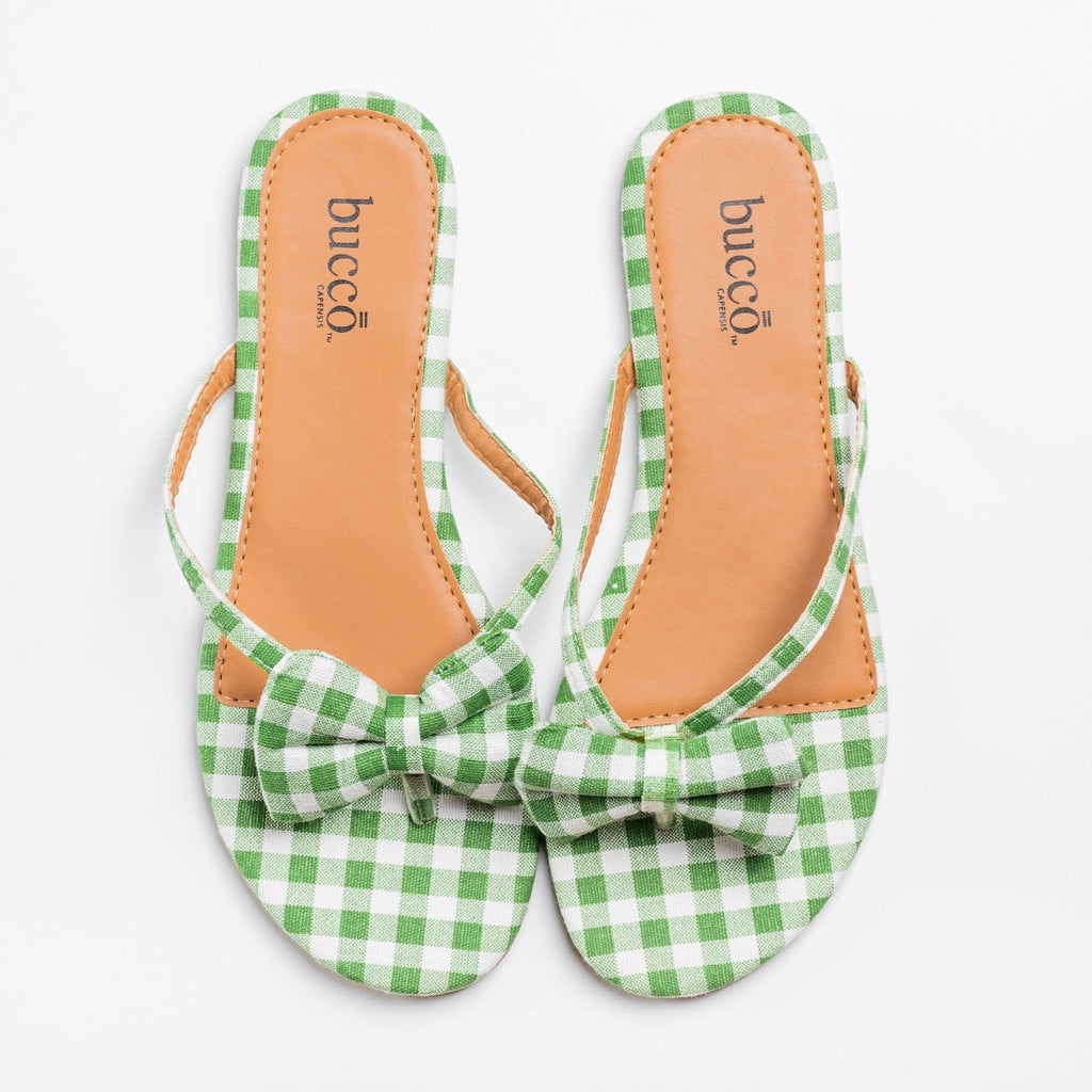Womens Adorable Gingham Bow Tie Sandals - Bucco - Green / 5