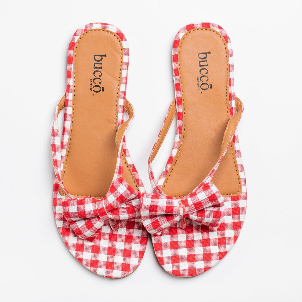 Womens Adorable Gingham Bow Tie Sandals - Bucco - Red / 5