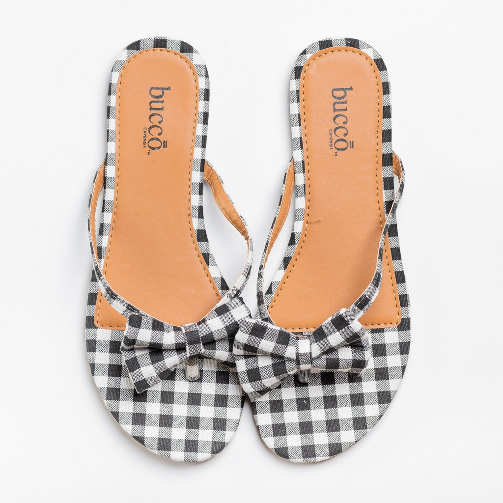 Womens Adorable Gingham Bow Tie Sandals - Bucco - Black / 5
