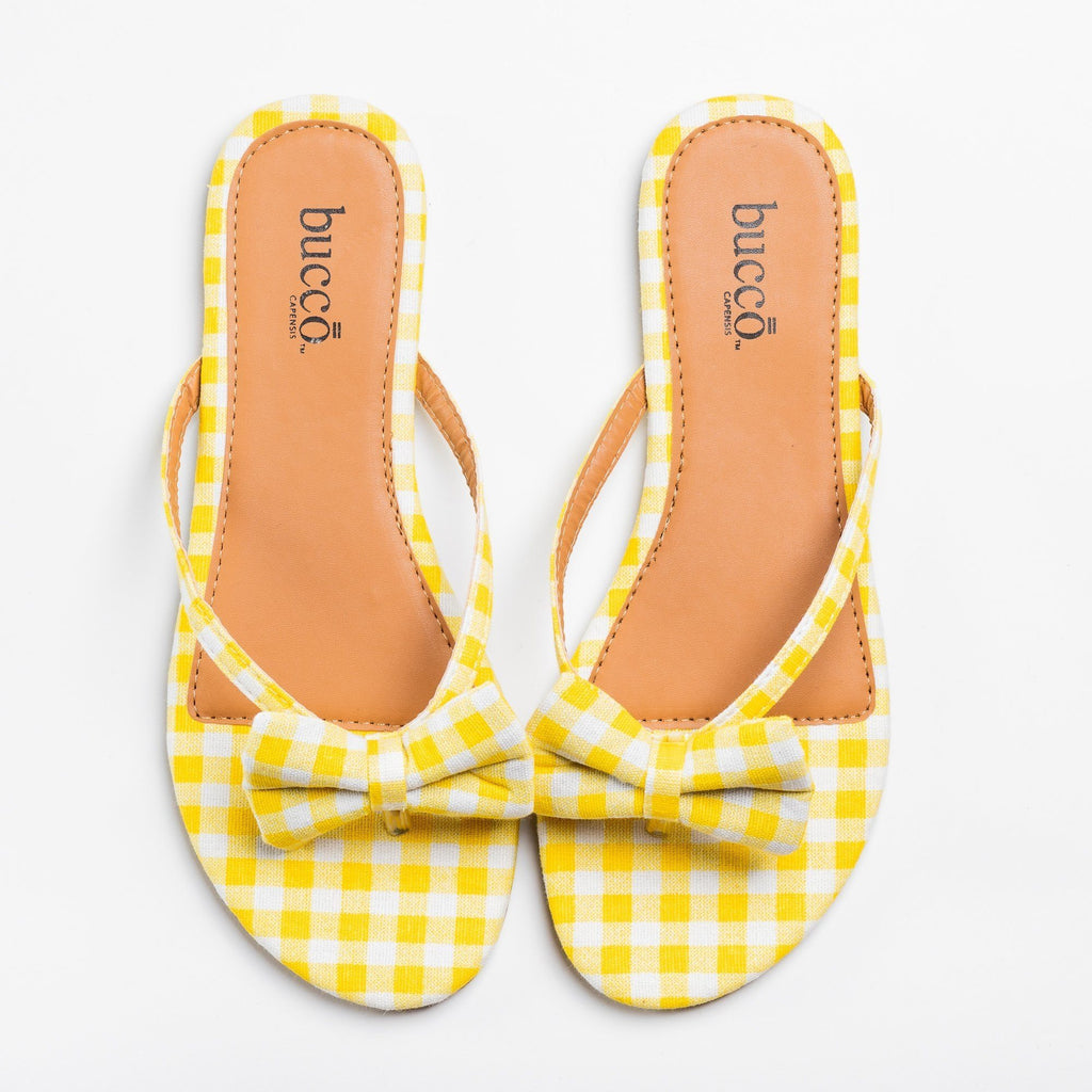 Womens Adorable Gingham Bow Tie Sandals - Bucco - Yellow / 5