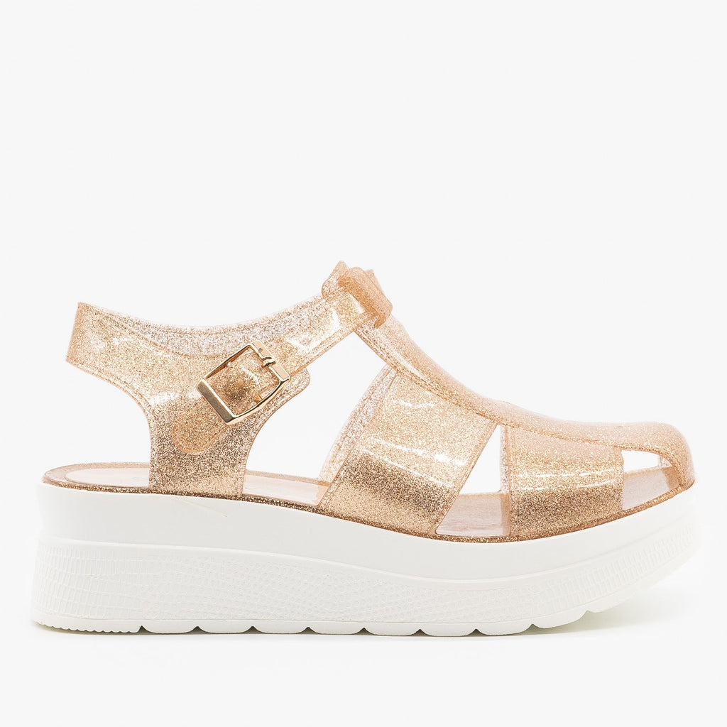 Womens Adorable Glitter Jelly Platform Sandals - Refresh - Gold / 5