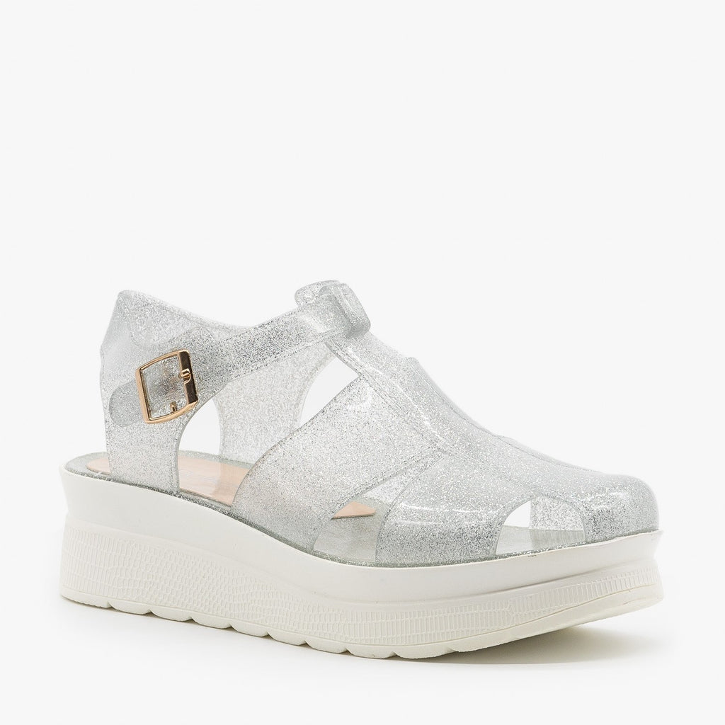 Womens Adorable Glitter Jelly Platform Sandals - Refresh
