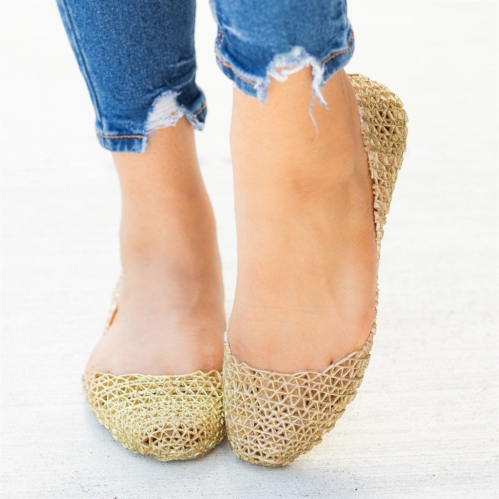 Womens Adorable Glitter Lacy Jelly Flats - Nature Breeze - Gold / 5